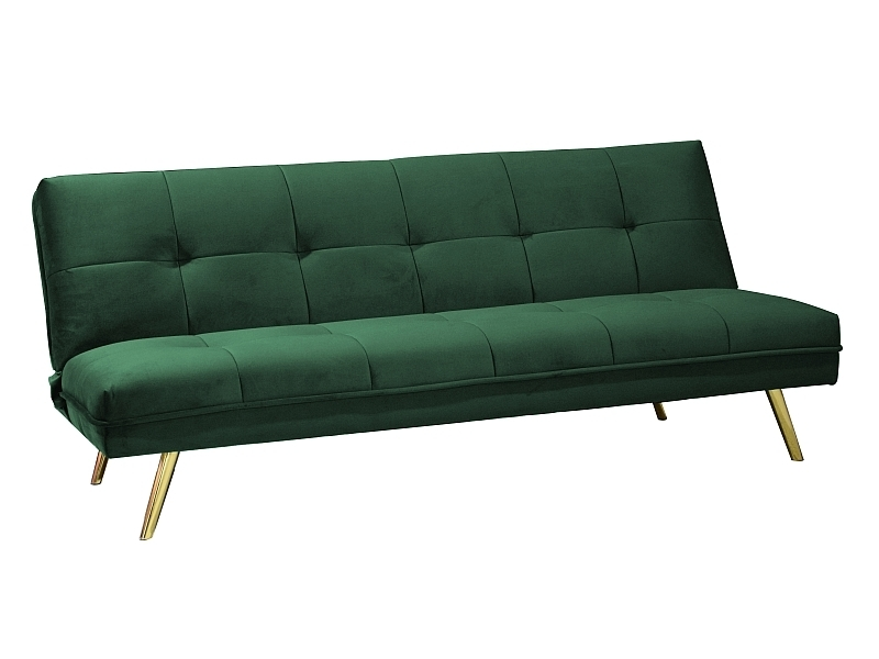 Canapea Extensibila Tapitata Stofa Moritz Velvet Verde Auriu