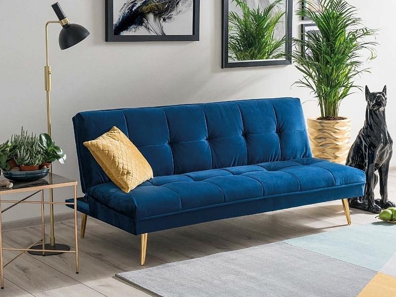 Canapea extensibila tapitata cu stofa, 3 locuri Moritz Velvet Albastru Inchis / Auriu, l181xA88xH80 cm