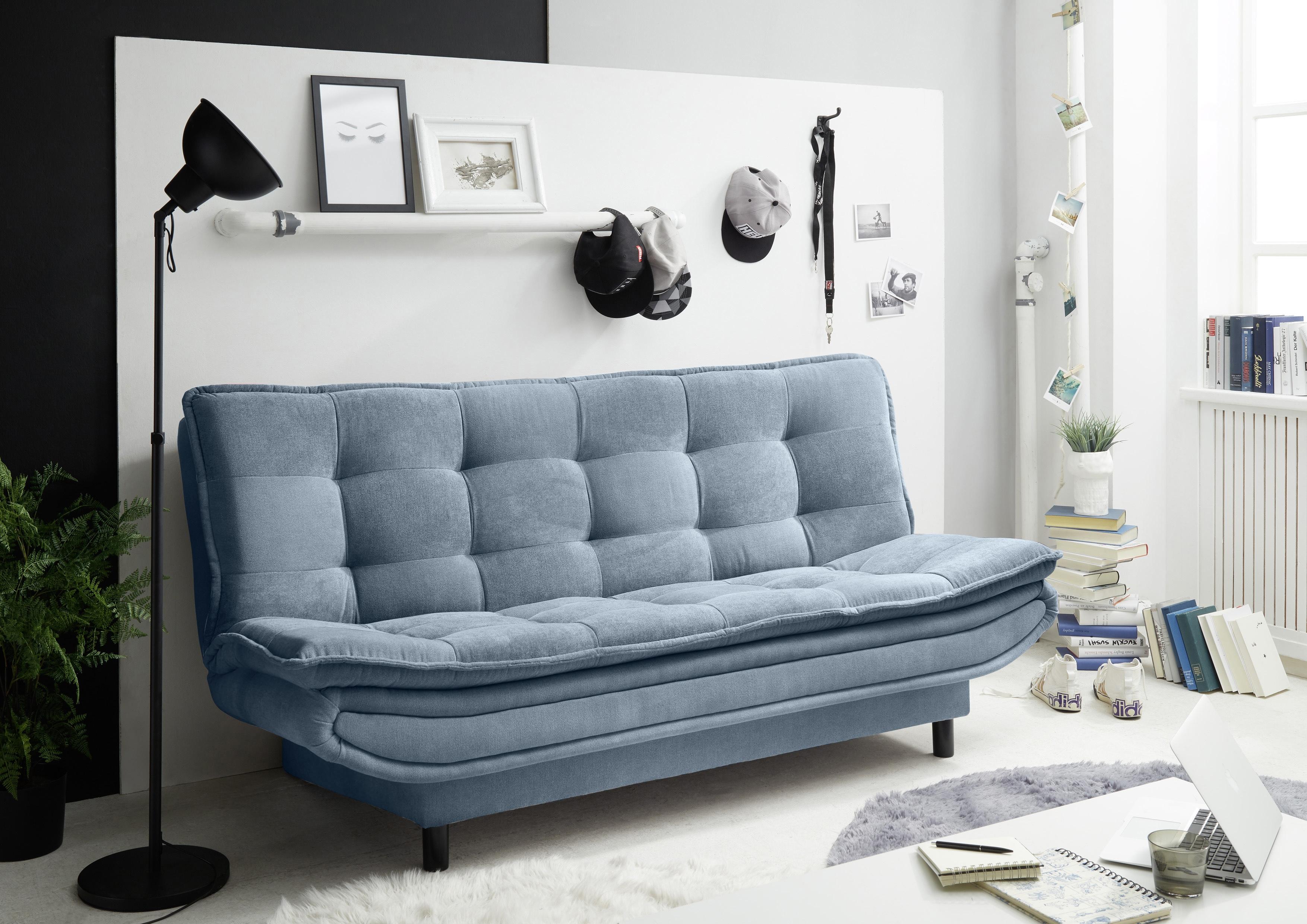 Canapea extensibila tapitata cu stofa, 3 locuri Patris Albastru, l188xA89xH90 cm