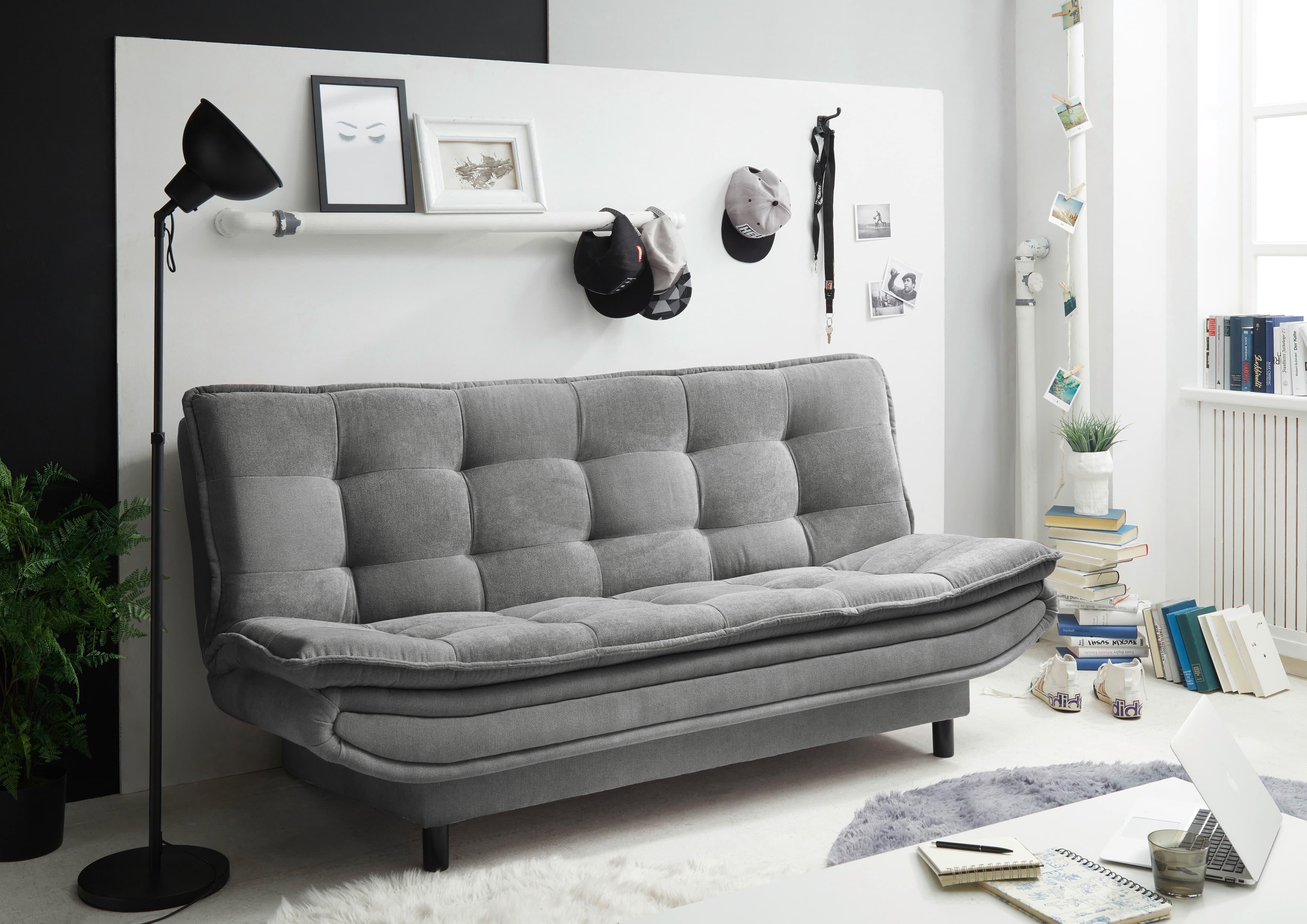 Canapea extensibila tapitata cu stofa, 3 locuri Patris Gri, l188xA89xH90 cm poza