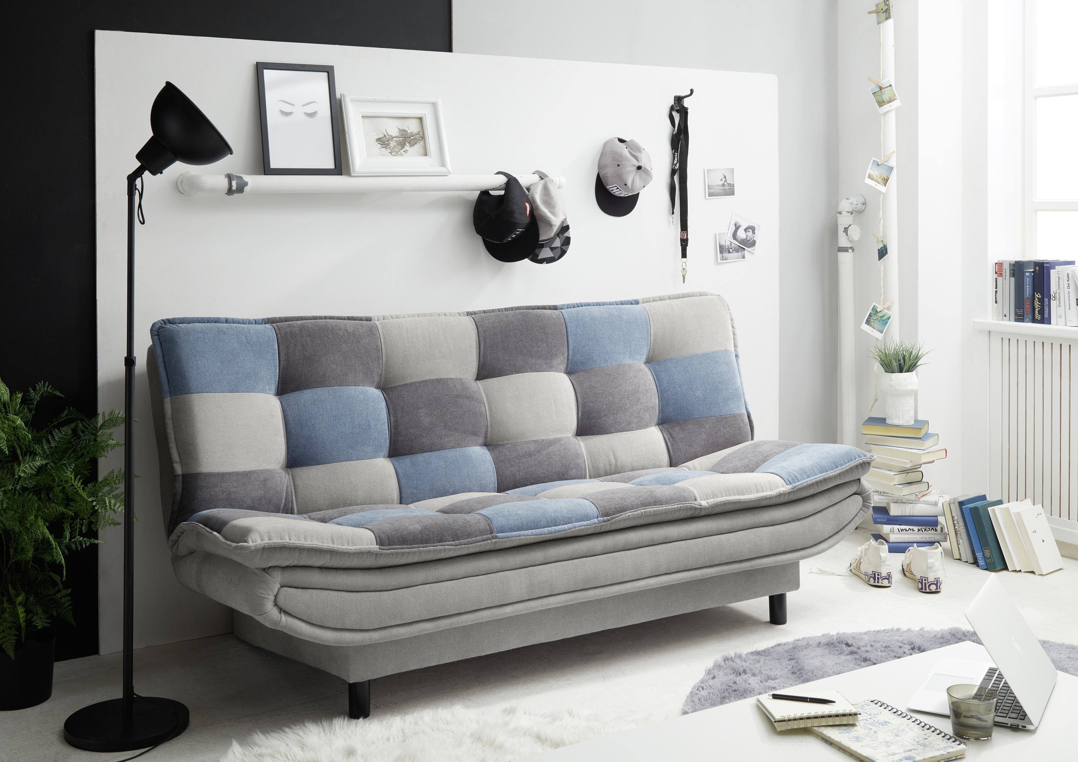 Canapea extensibila tapitata cu stofa, 3 locuri Patris Patch Gri / Albastru, l188xA89xH90 cm poza