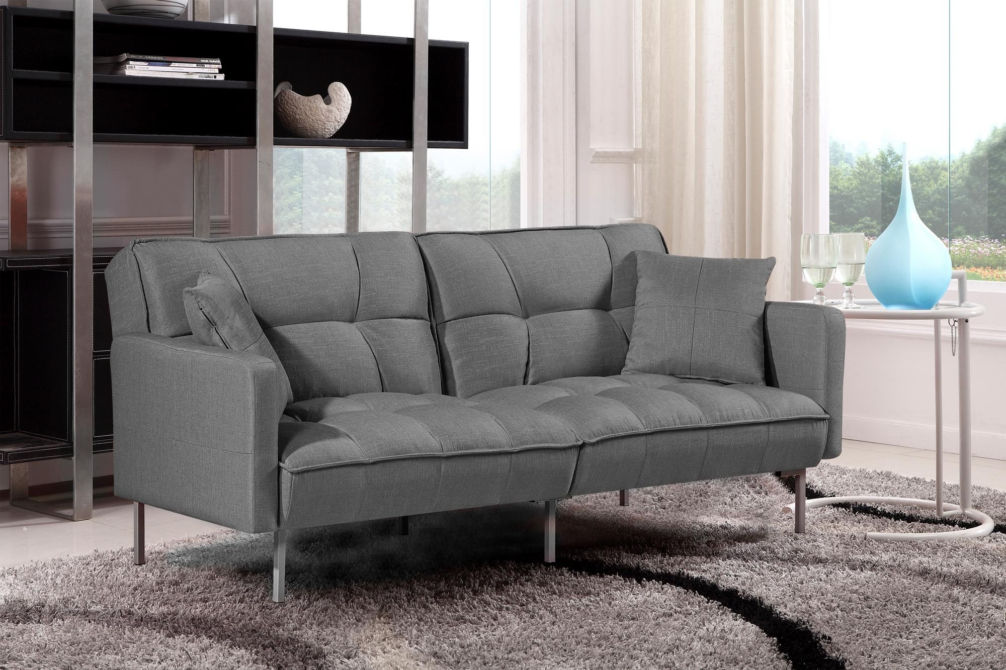 Canapea extensibila tapitata cu stofa, 3 locuri Roberto Gri inchis, l193xA85xH86 cm