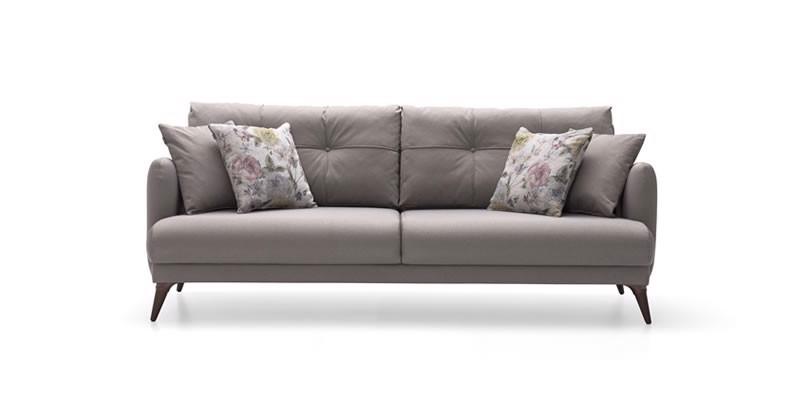 Canapea extensibila tapitata cu stofa 3 locuri Sante Grej l212xA96xH82 cm