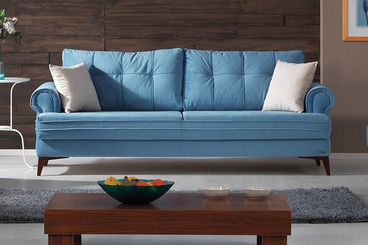 Canapea extensibila tapitata cu stofa, 3 locuri Step Albastru K1, l225xA92xH85 cm poza