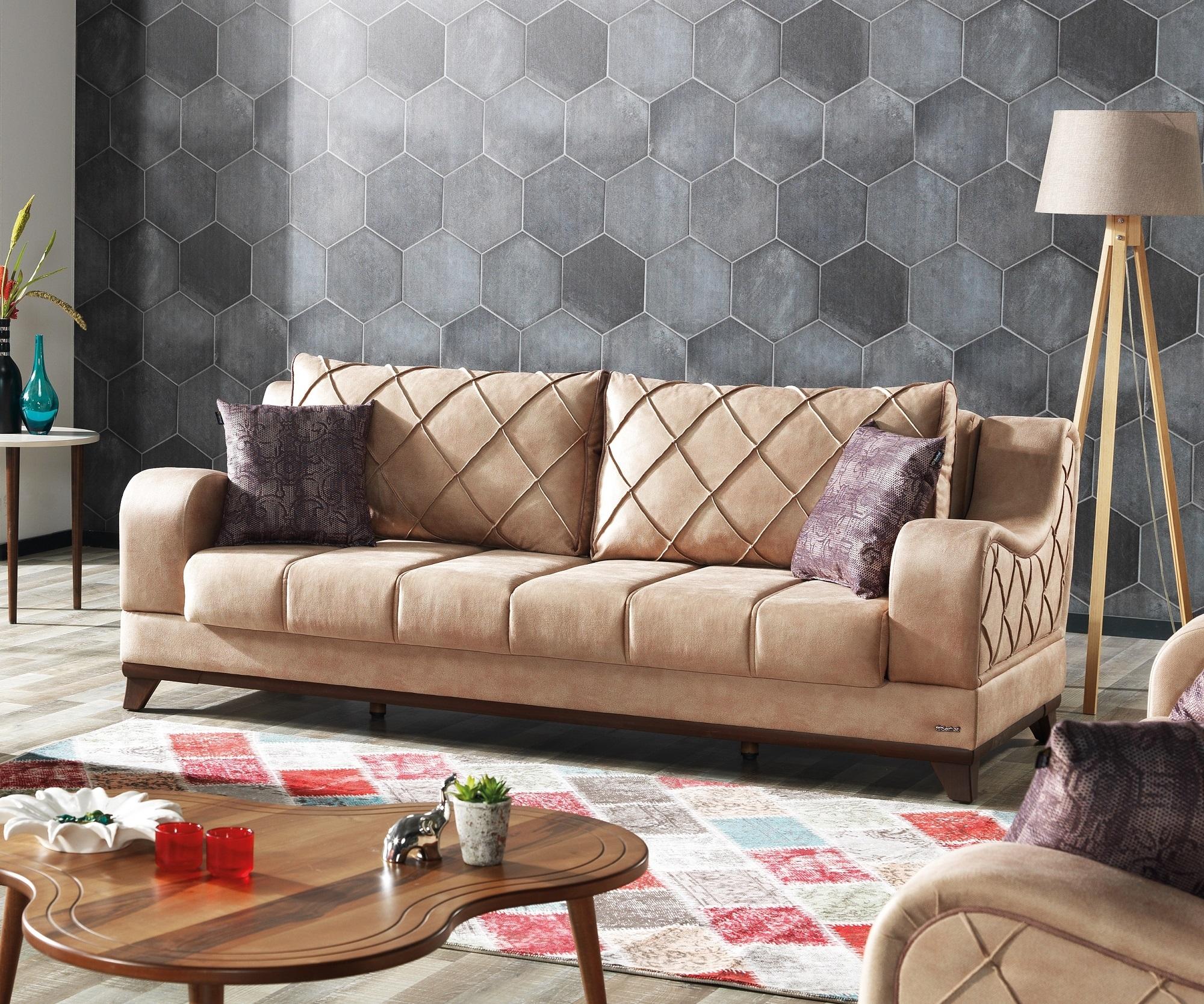 Canapea extensibila tapitata cu stofa, 3 locuri Woody Maro deschis K1, l225xA102xH82 cm