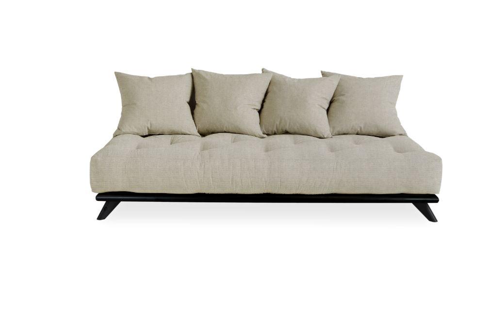 Canapea Fixa 3 locuri stofa si cadru lemn de pin Senza Black Linen l200xA90xH93 cm