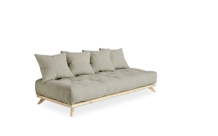 Canapea Fixa 3 locuri stofa si cadru lemn de pin Senza Nature Linen l200xA90xH93 cm