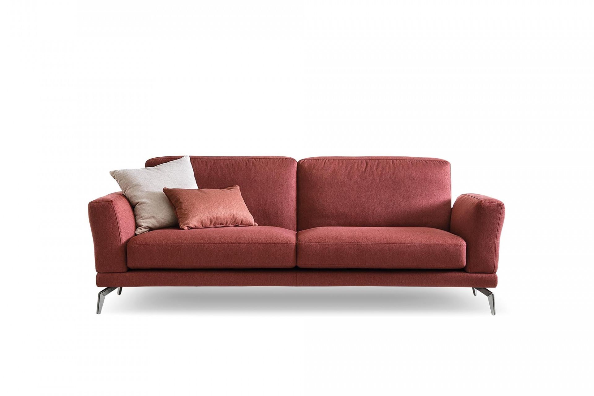 Canapea fixa 3 locuri, tapitata cu stofa, Estate Visiniu, l232xA90xH84 cm imagine