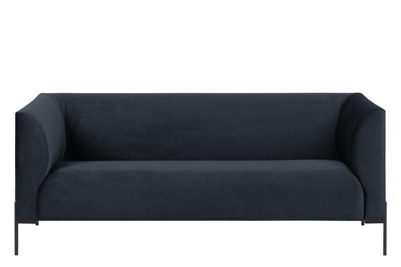 Canapea fixa cu 25 locuri tapitata cu stofa cu picioare din metal Ontario Dark Blue l185xA76xH76 cm
