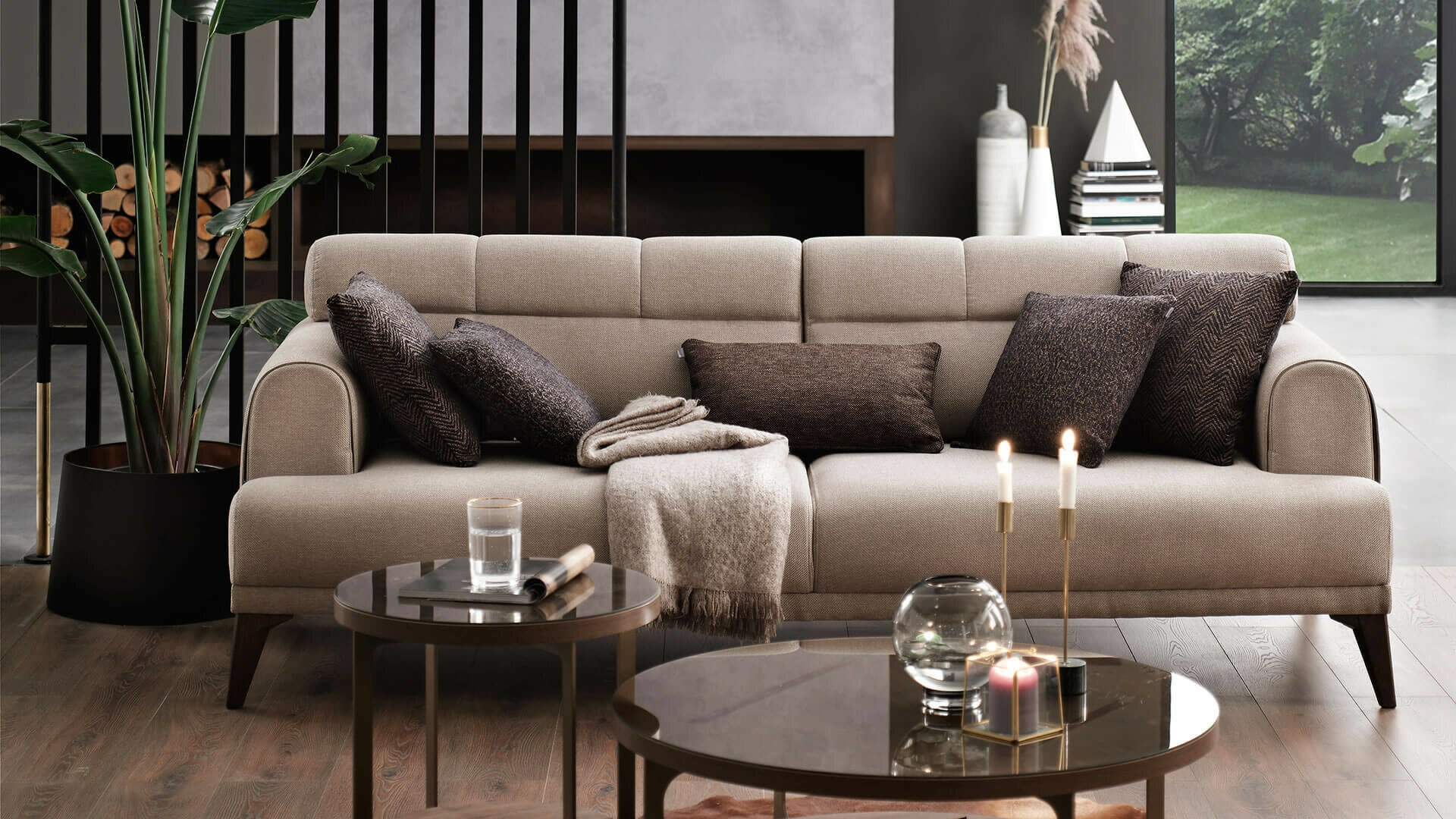Canapea fixa cu mecanism Relax, tapitata cu stofa 3 locuri Madrid Bej, l231xA102xH80 cm imagine 2021