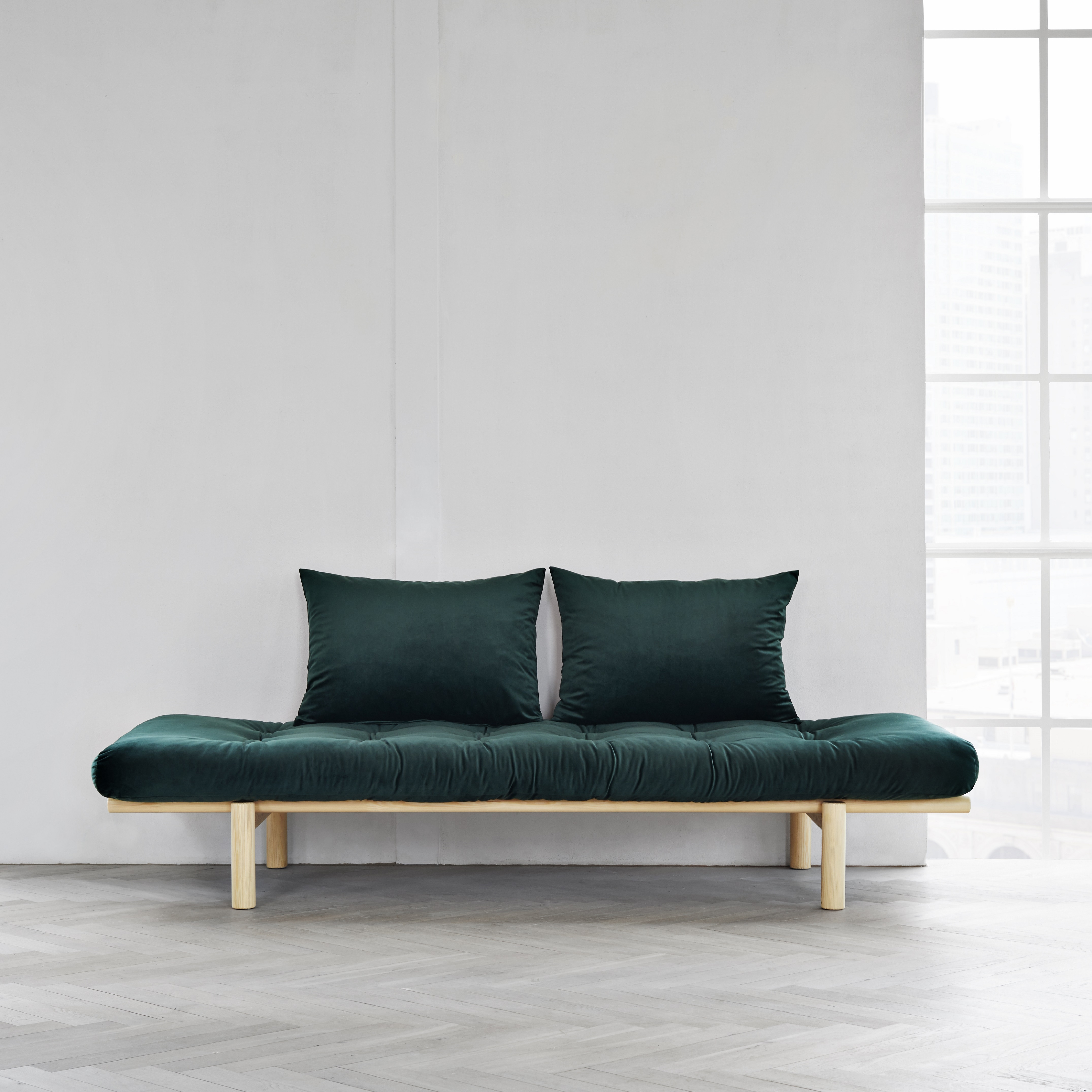 Canapea fixa Pace Velvet Day-Bed Natural Green
