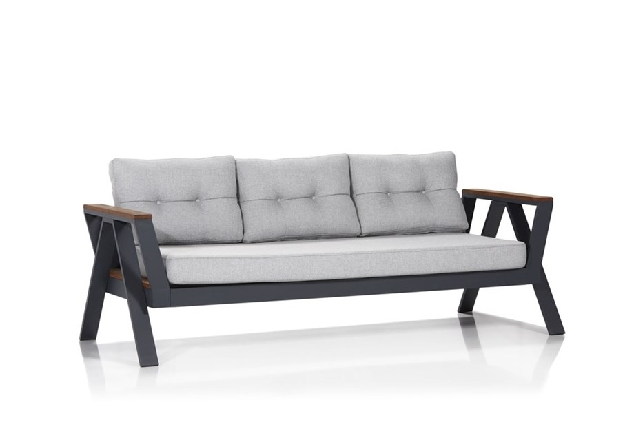 Canapea fixa pentru gradina / terasa, 3 locuri Atlas Gri / Antracit, l213xA94xH77 cm
