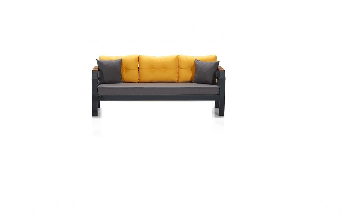 Canapea fixa pentru gradina / terasa, 3 locuri Assento Outdoor Galben / Antracit, l194xA76xH67 cm