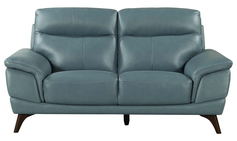 Canapea fixa tapitata cu piele ecologica 2 locuri Cosimo Blue l178xA97xH95 cm