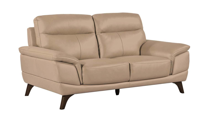 Canapea fixa tapitata cu piele ecologica 2 locuri Cosimo Taupe l178xA97xH95 cm