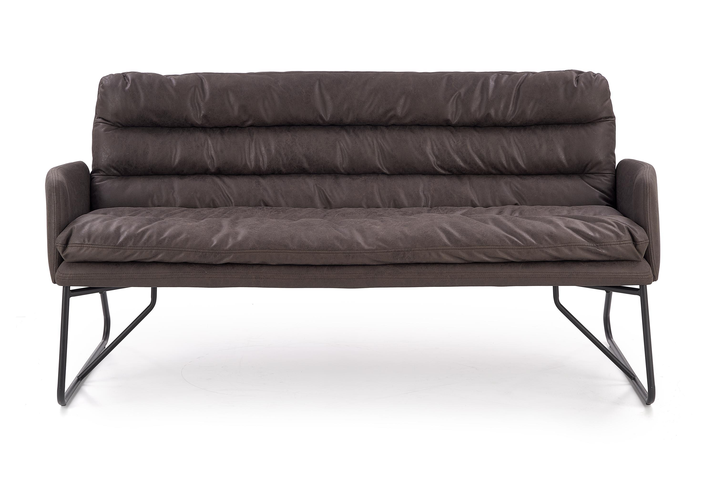 Canapea fixa tapitata cu piele ecologica, 2 locuri Fassi XL Dark Grey / Black, l172xA75xH83 cm