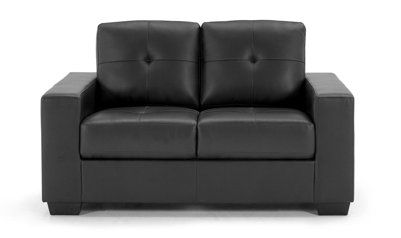 Canapea fixa tapitata cu piele ecologica 2 locuri Gemona Black l150xA83xH90 cm