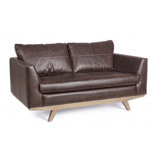 Canapea fixa tapitata cu piele ecologica 2 locuri Johnston Maro inchis l155xA90xH82 cm
