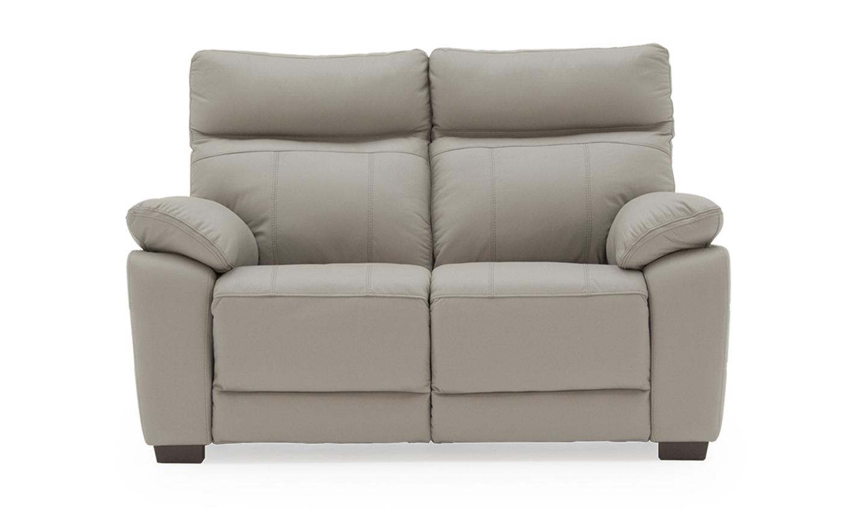 Canapea fixa tapitata cu piele ecologica 2 locuri Positano Light Grey l150xA94xH98 cm
