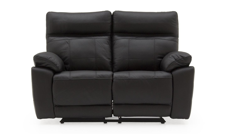 Canapea fixa tapitata cu piele ecologica 2 locuri Recliner Positano Black l150xA94xH98 cm
