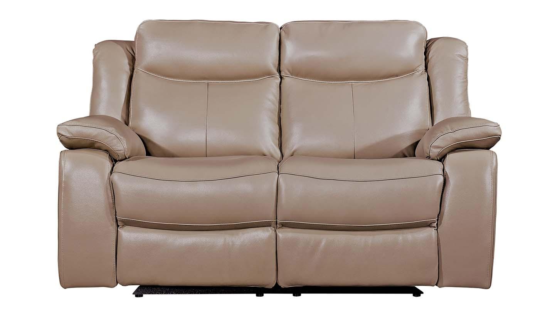 Canapea fixa tapitata cu piele ecologica 2 locuri Recliner Torretta Taupe l160xA93xH100 cm