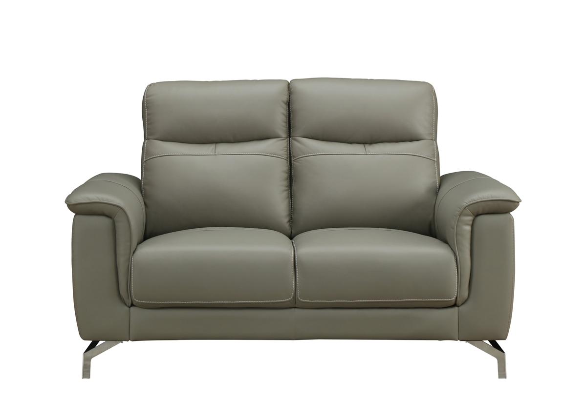 Canapea fixa tapitata cu piele ecologica 2 locuri Simone Grey l145xA90xH91 cm