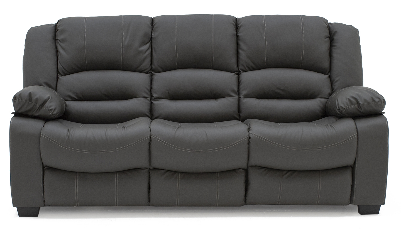 Canapea fixa tapitata cu piele ecologica 3 locuri Barletto Grey l204xA96xH102 cm