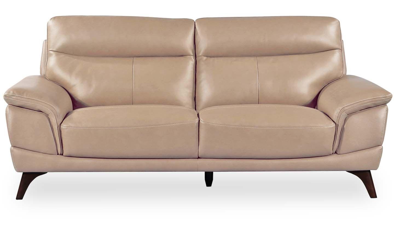 Canapea fixa tapitata cu piele ecologica 3 locuri Cosimo Taupe l207xA97xH95 cm