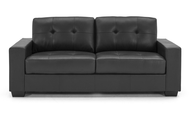 Canapea fixa tapitata cu piele ecologica 3 locuri Gemona Black l205xA83xH90 cm