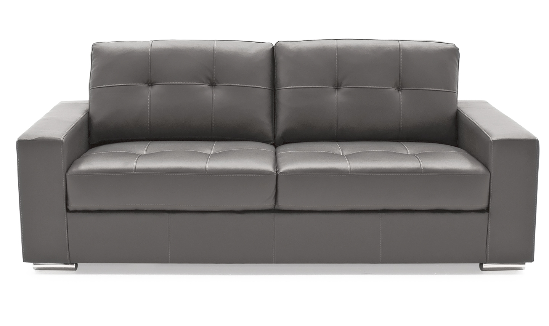 Canapea fixa tapitata cu piele ecologica 3 locuri Gemona Grey l205xA83xH90 cm