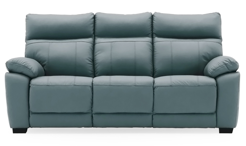 Canapea fixa tapitata cu piele ecologica 3 locuri Positano Blue l200xA94xH98 cm