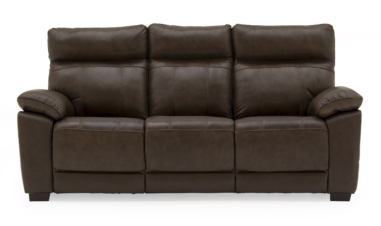 Canapea fixa tapitata cu piele ecologica 3 locuri Positano Brown l200xA94xH98 cm