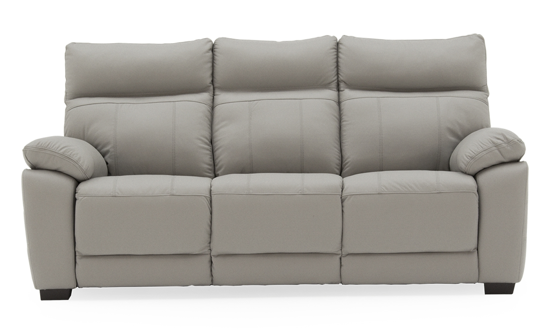 Canapea fixa tapitata cu piele ecologica 3 locuri Positano Light Grey l200xA94xH98 cm