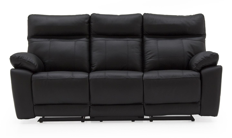 Canapea fixa tapitata cu piele ecologica 3 locuri Recliner Positano Black l200xA94xH98 cm