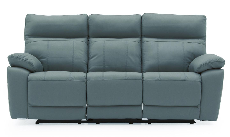 Canapea fixa tapitata cu piele ecologica 3 locuri Recliner Positano Blue l200xA94xH98 cm