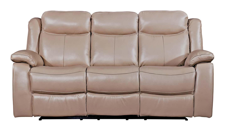 Canapea fixa tapitata cu piele ecologica 3 locuri Recliner Torretta Taupe l216xA93xH100 cm