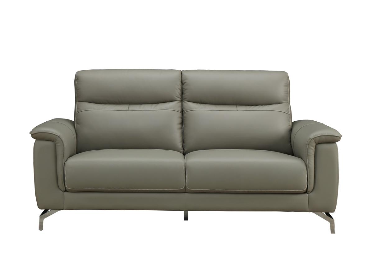 Canapea fixa tapitata cu piele ecologica 3 locuri Simone Grey l187xA90xH91 cm