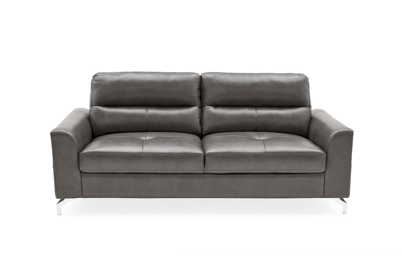 Canapea fixa tapitata cu piele ecologica 3 locuri Tanaro Grey l194xA88xH88 cm