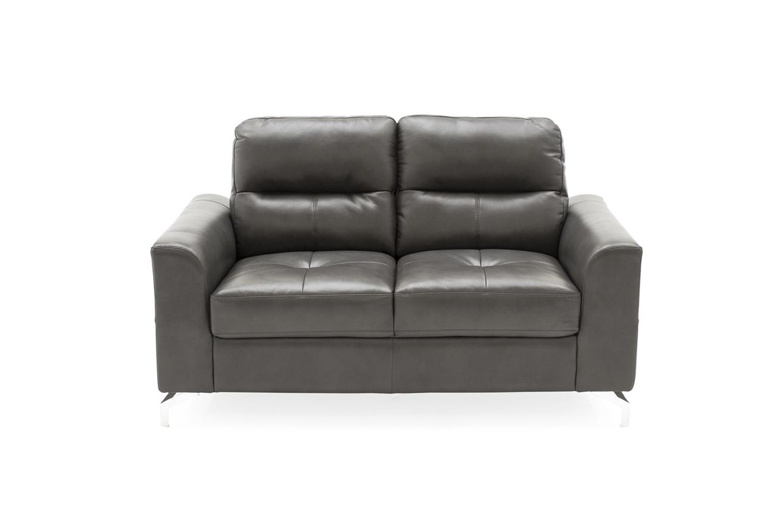 Canapea fixa tapitata cu piele ecologica 2 locuri Tanaro Grey l146xA88xH88 cm