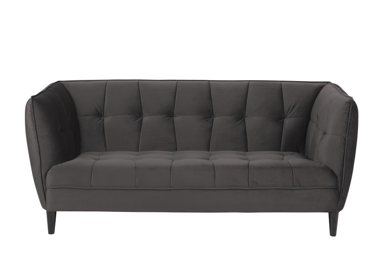 Canapea fixa tapitata cu stofa, 2,5 locuri Jonna Velvet Gri Inchis / Negru, l182xA82xH80 cm poza