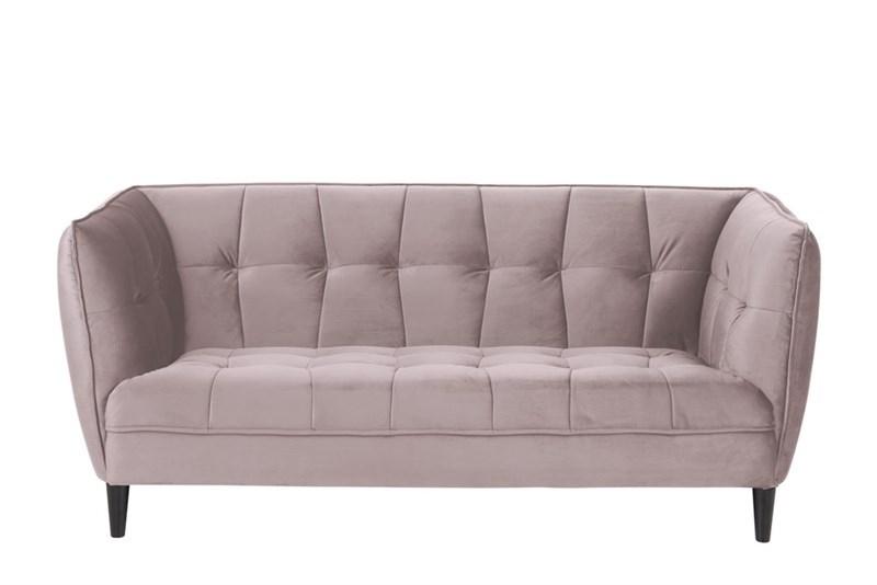 Canapea fixa tapitata cu stofa, 2,5 locuri Jonna Velvet Roz Inchis / Negru, l182xA82xH80 cm