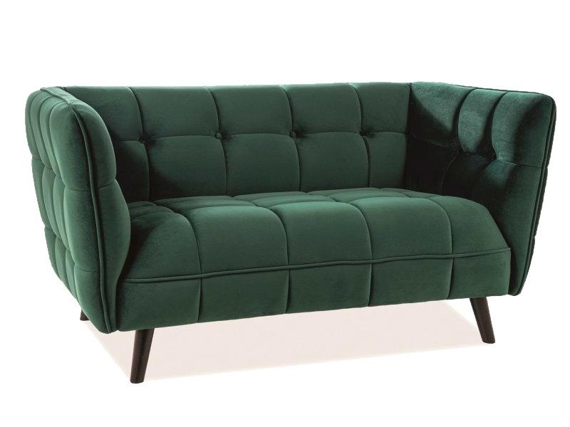 Canapea fixa tapitata cu stofa, 2 locuri Bellamy Velvet Verde / Wenge, l145xA85xH78 cm