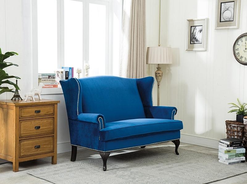 Canapea fixa tapitata cu stofa, 2 locuri Benjamin II Velvet Albastru inchis, l143xA93xH103 cm