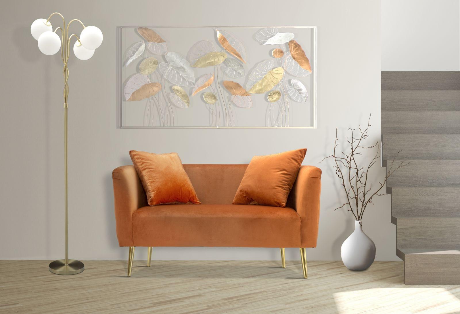 Canapea fixa tapitata cu stofa, 2 locuri Bucharest Velvet Portocaliu, l127xA74xH71 cm