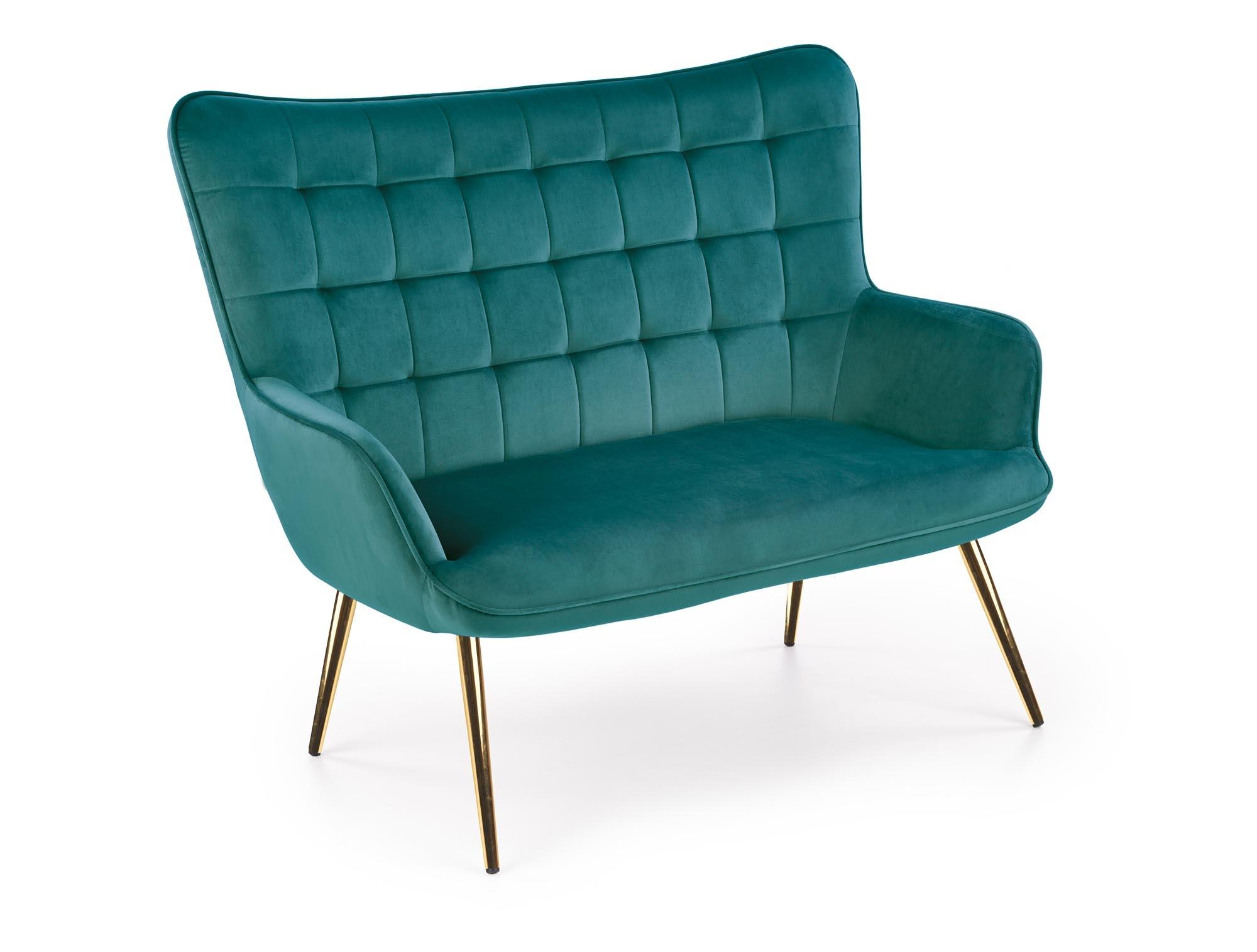 Canapea fixa tapitata cu stofa, 2 locuri Castel 2XL Verde inchis / Auriu, l129xA99xH100 cm
