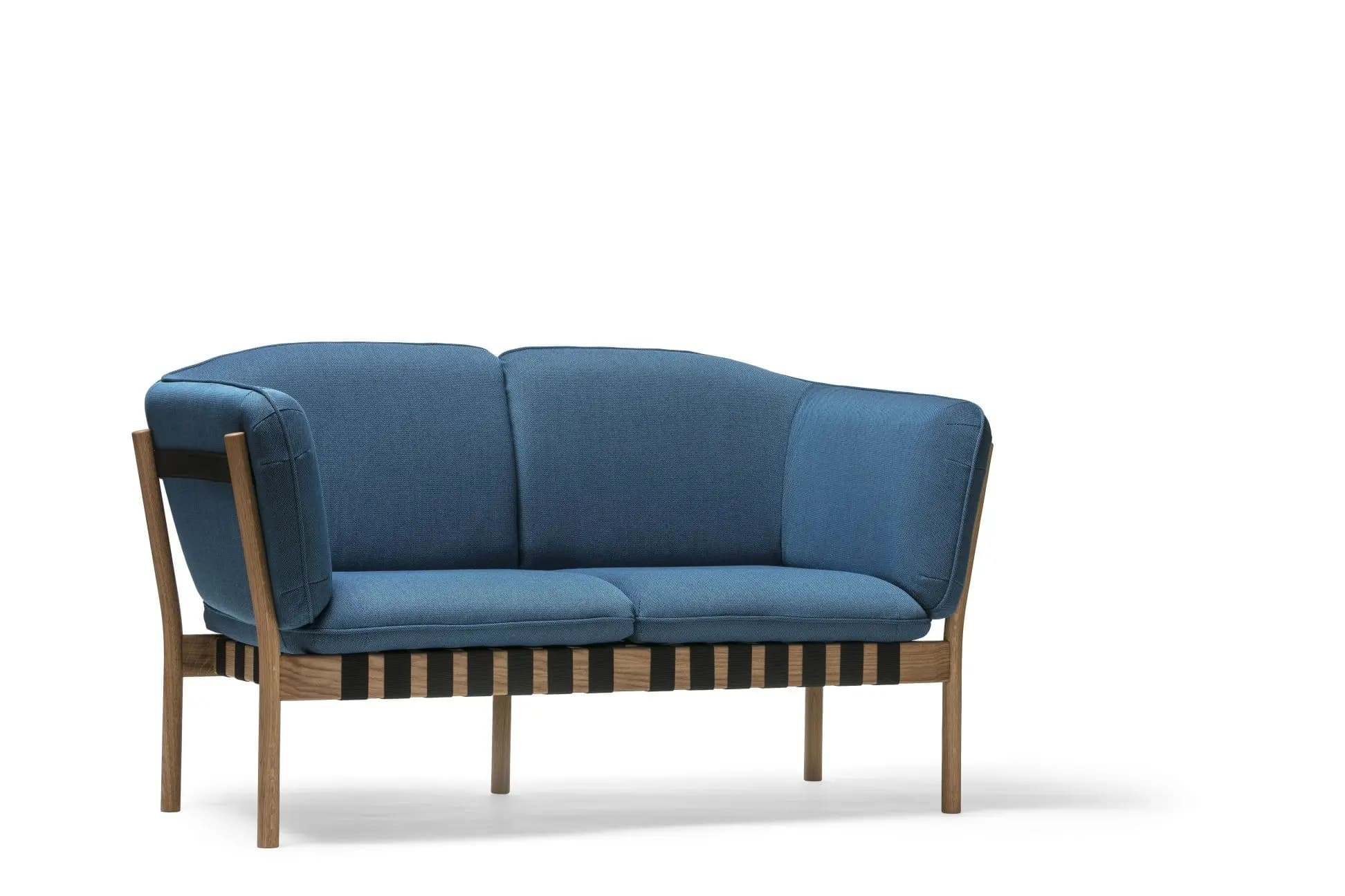 Canapea fixa tapitata cu stofa, 2 locuri, Dowel Albastru / Natural, l147xA76,5xH85 cm