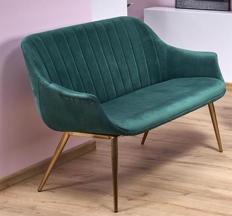 Canapea fixa tapitata cu stofa, 2 locuri Elegance 2 XL Verde inchis / Auriu, l132xA62xH78 cm imagine