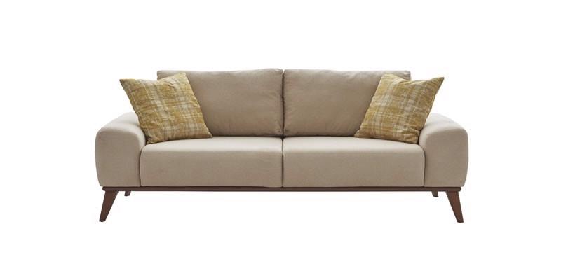 Canapea fixa tapitata cu stofa, 2 locuri Forte Bej, l210xA102xH75 cm imagine