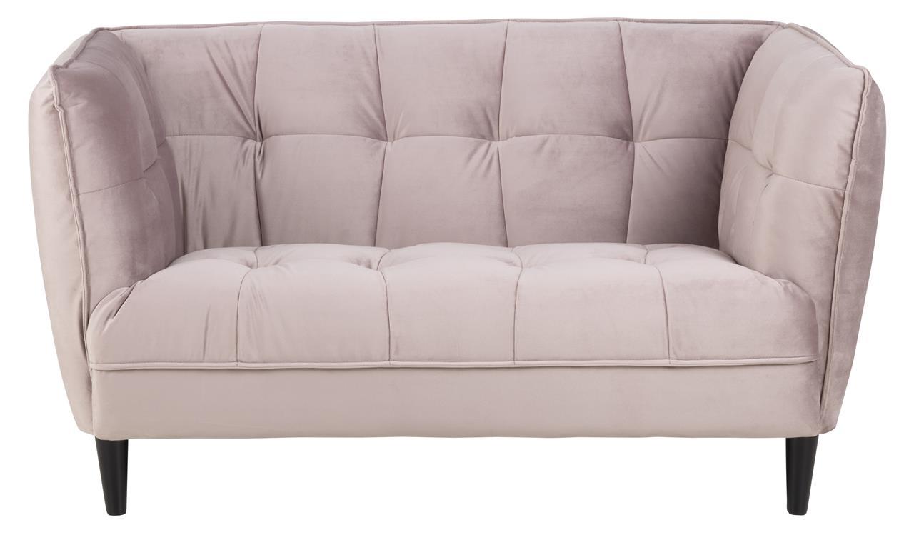 Canapea fixa tapitata cu stofa, 2 locuri Jonna Velvet Roz Inchis, l146xA82xH80 cm