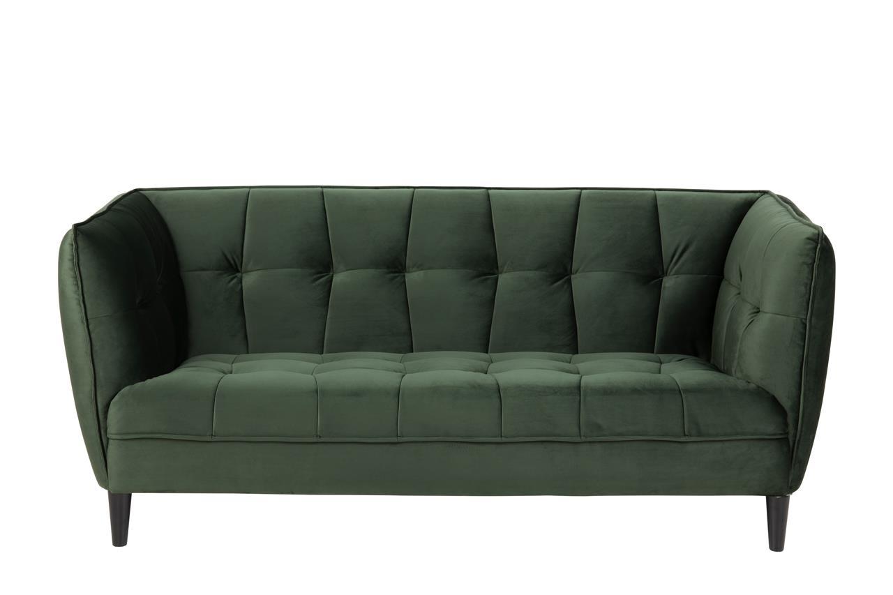 Canapea fixa tapitata cu stofa, 2,5 locuri Jonna Velvet Verde Inchis / Negru, l182xA82xH80 cm